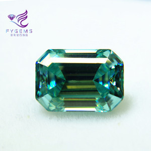 VVS Clarity Diamond High Quality Emerald Cut Blue green Color Synthetic Loose Moissanite