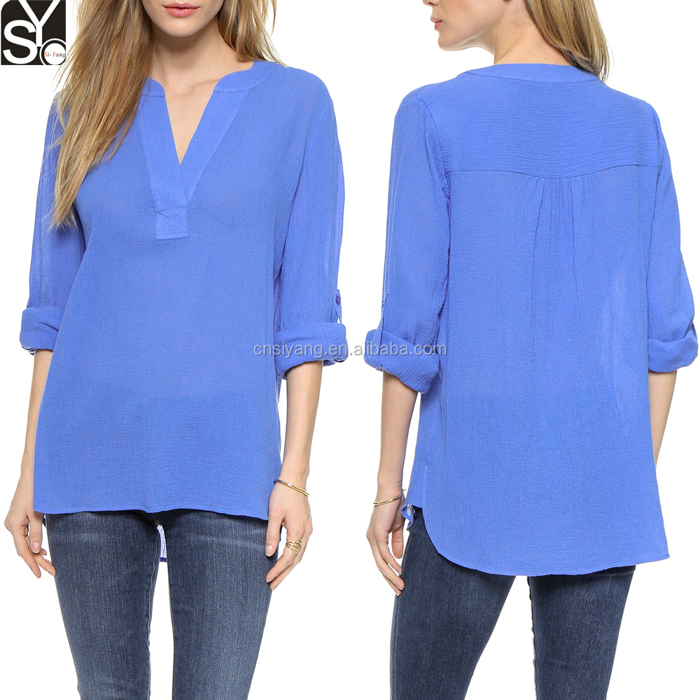 Summer Women Casual Wear\Crinkle Chiffon V Neck Long Sleeve Lady Blouse