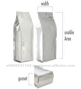 Custom Food Packaging High Barrier Quad Seal Bags