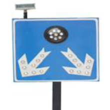 32 LED Solar Powered Highway Traffic Signal Flashing Sign
