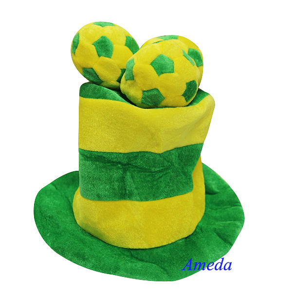 NEW World Football Sports BRAZIL Flag Party Green Yellow Plush Top Adult Hat