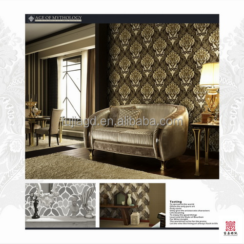 gold embossed vinyl wallpaper for hotel from chnina wallpaper supplier
