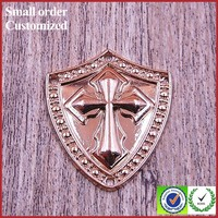 Wing sword zinc alloy embossed gold metal badge for handbags