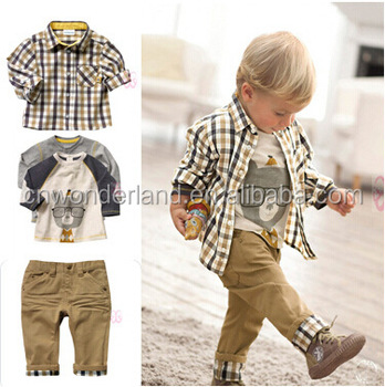 2016 hot sale kids plaid shirt 3pc set matching clothing sets children clothing set