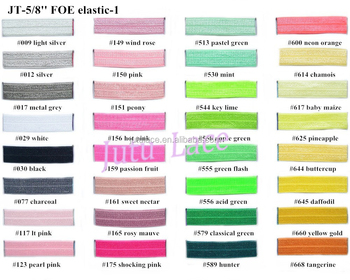 Fold Over Elastic Wholesale/ 5/8'' Shiny Fold Over Elastic in 102 solid colors