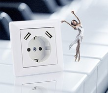 Leishen Patent Schuko Garden Outdoor Waterproof Usb Wall Socket For Eu