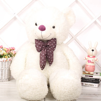 0.8/1/1.2/1.6M promotional cusotmzied plush big Candy teddy bear doll toy with printed silk bowtie(white)