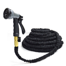 Factory wholesale 100ft black flexible expandable garden hose with brass fitting 8 pattern spray nozzle