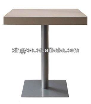 Modern indoor commercial starbucks chromed stainless steel for Single leg dining table
