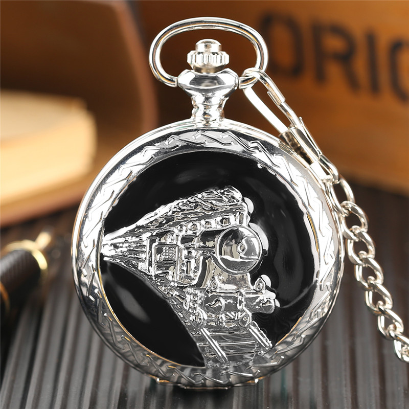 Glossy Steel Pocket Watch Black Epoxy Cover Silver Train on Railway Carving Pendant Chain Special Birthday Gifts Clock for Boys  (7)