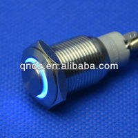 QN16-C2 16mm blue led high head latching car push button switch DC 12V waterproof