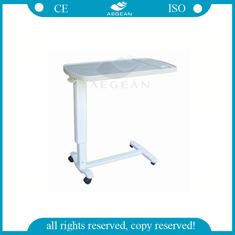 AG-OBT002 adjustable plastic bedside medical over bed table with wheels