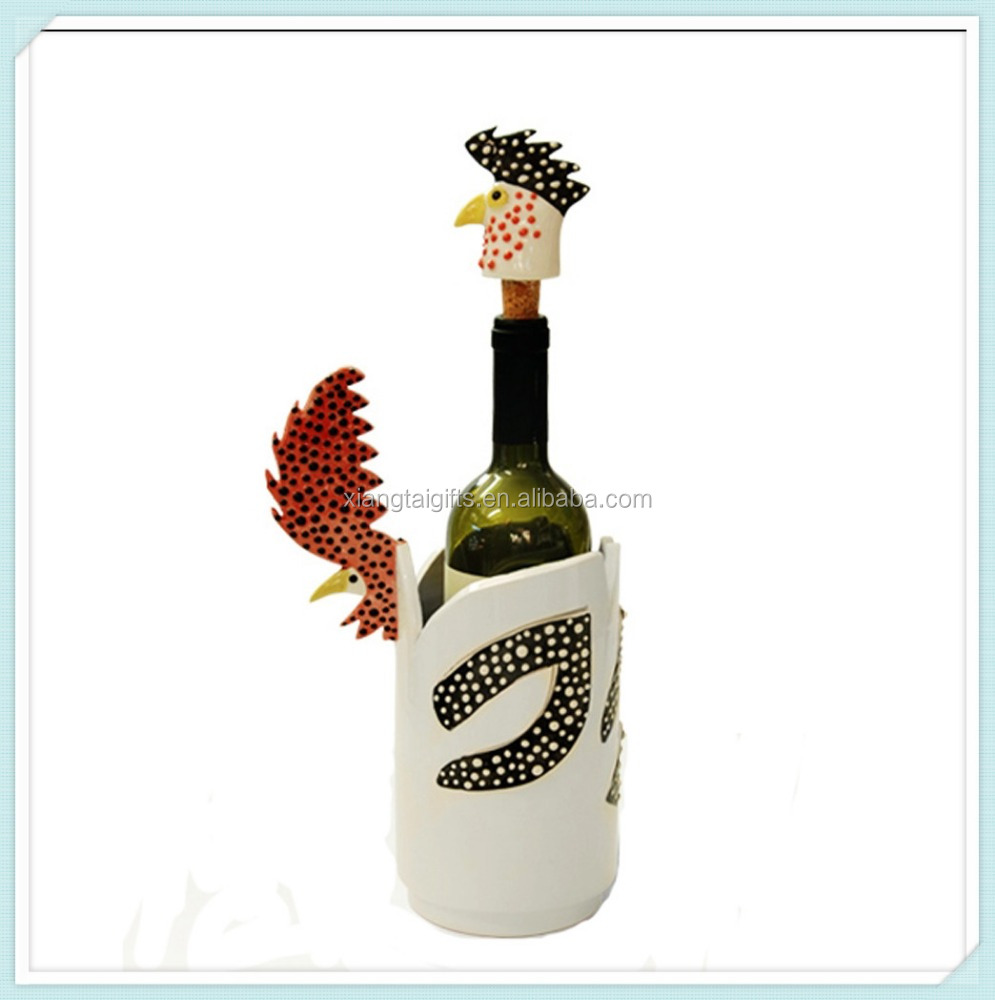 Hand Painted Cute Colored Rooster Design Ceramic Wine Cooler And Stopper Set