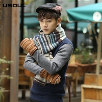 Autumn And Winter New Korean Striped Jacquard Thick And Warm Men's Knitted Woolen Scarf