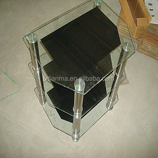 new design factory directly hot sell tempering glass aluminum alloy chromed legs black colour 6*45*65 cm corner tv stand