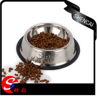 stainless steel pet bowl with rubber bottom / dog bowl for food & water