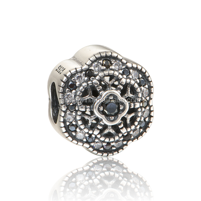 New Arrival Design Lucky Body Beads Black Rhinestones and White Nature Zircon Jewelry Beads craft 925 silver charms