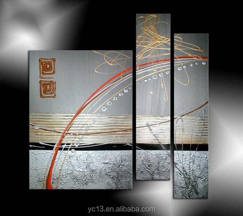 popular abstract modern Factory supply decorative oil painting with 3pcs panel painting