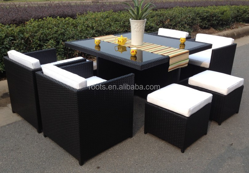 9 pc mobilier de jardin en rotin osier salle manger. Black Bedroom Furniture Sets. Home Design Ideas