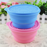 2017New Design Silicone Collapsible Folding Bowl with Lid