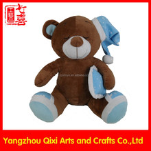 Good quality factory teddy bear plush sleeping bear with hat and pillow