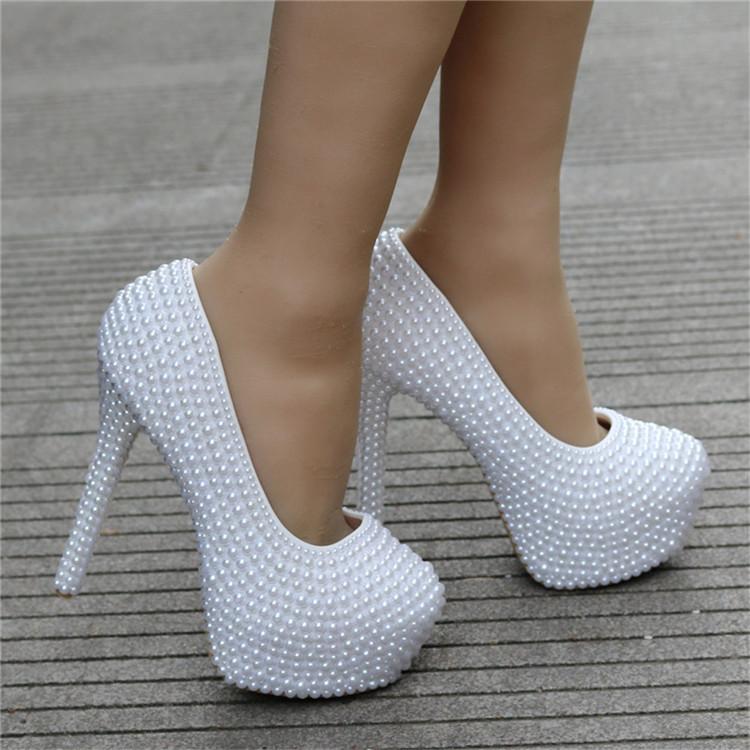Custom Extreme High Heels Women's Pumps Matching Handbag Sets With Full Imitation Pearls Decoration