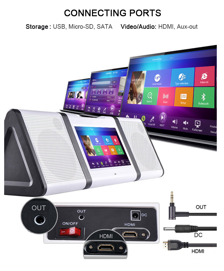 Portable10.1 inch Karaoke karaoke media player including hindi songs with wifi and bluetooth