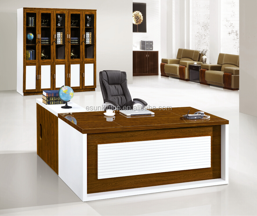Manager office table designs in wood office computer table for Table design for office