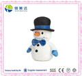 Cute White Soft Plush Snowman with Shiny Hat and Bow-tie