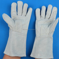 Comfortable custom cow split leather safety welding gloves with Kevlar thread