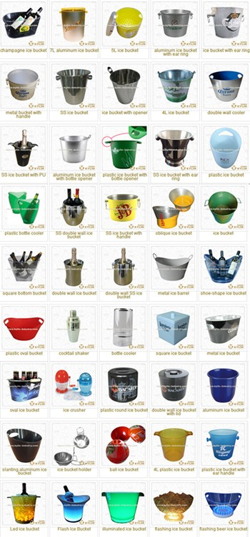 Wholesale custom logo silk printing / engraving metal aluminum ice bucket