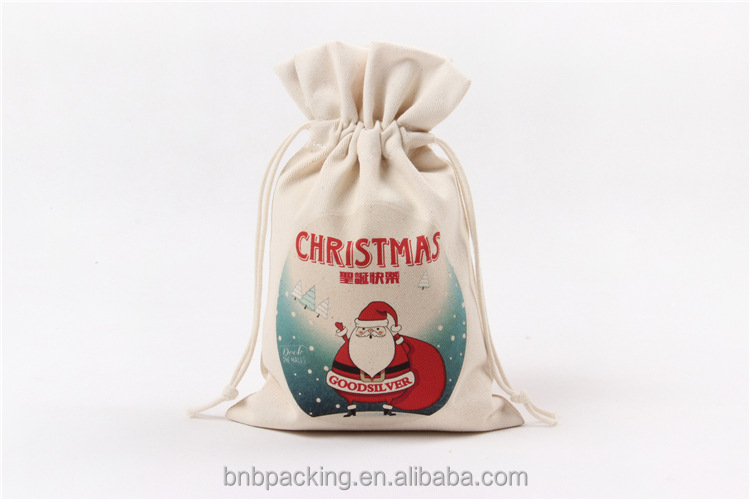 Wholesale Cotton Drawstring Candy Christmas Gift Bags Personalized Pouches