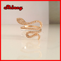 fashion micro pave high quality ring,925 sterling silver gold snake ring
