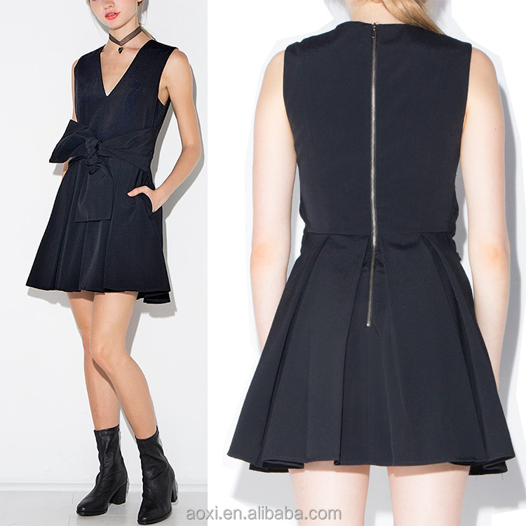 Oem dress supplier zipper black fit and flare waisted tie fashion girls party dresses