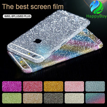 Colorful bling bling mobile phone skin sticker front and back cell phone skin sticker for iPhone 5 6 7