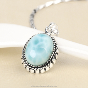 Fancy Oval Shape Larimar Stone Charm Pendant 2017 New Design 925 Sterling Silver Pendant Women Larimar Jewelry Necklace