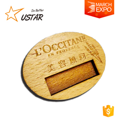 cheap round shaped wood lapel pin, laser logo wooden pins