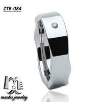 European and American style personality men/women CZ stone inlay auger tungsten steel ring s jewelry