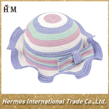 Colorful cute girls straw beach hat paper straw hat with big bowknot