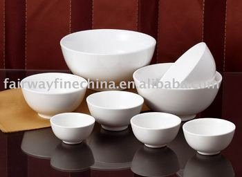 China Factory Hotel Catering Footed White Porcelain Rice Bowl
