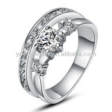 Fashionable copper engagement rings hot sale expandable fashion rings special cubic zirconia ring