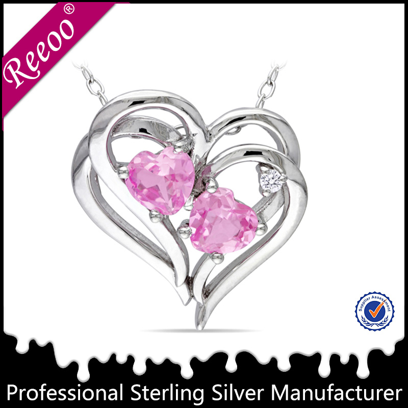 925 sterling silver love heart pendant with cz stone, jewelry manufacturer