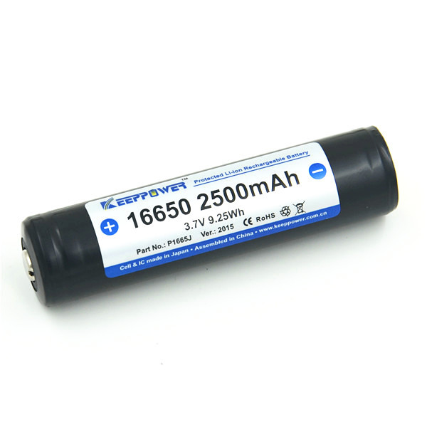 KeepPower 3.7V sanyo 16650 2500mah protected li-ion battery 16650 P1665J