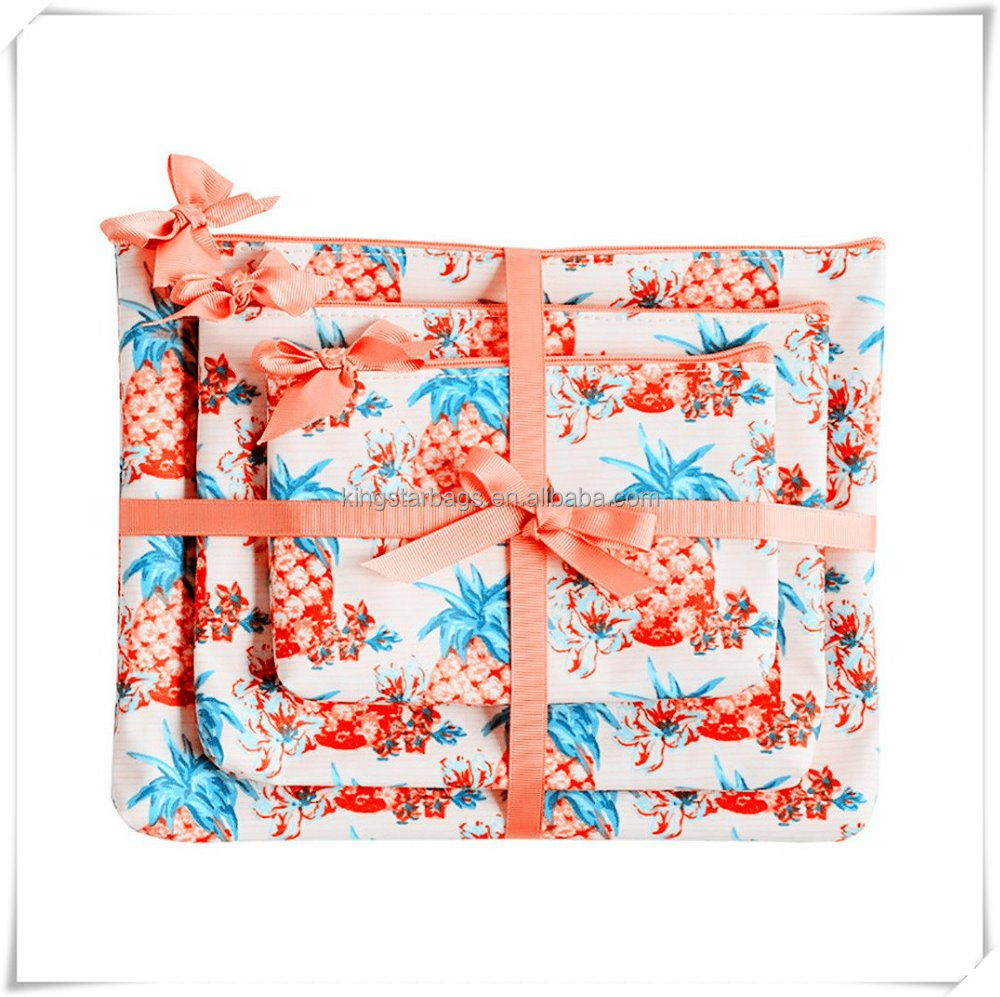 Durable Newest design silk printed Polyester/Nylon floral make up Bag
