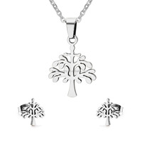 Latest Stainless Steel Silver Tree of Life Jewelry Set Christmas Gift Wholesale