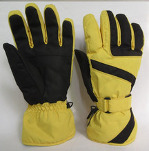 Fall winter yellow special fabric men ski gloves