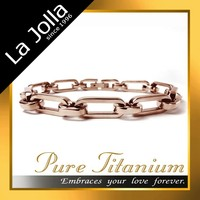 Top quality rose gold anti allergy chain bangle titanium bracelet