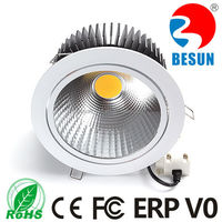 Energy efficiency Ra>82/90/95 CCT3000/4000/6000K Dia 180mm Cutting size165mm 40watt round COB led downlight