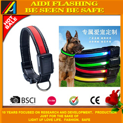 2017 high quality fashionable PP webbing glowing led dog collar