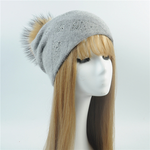 Wholesale High Quality Winter Warm Hat Custom Wool Knitted Cap Winter Fashion Real Raccoon Fur Pom Pom Hat